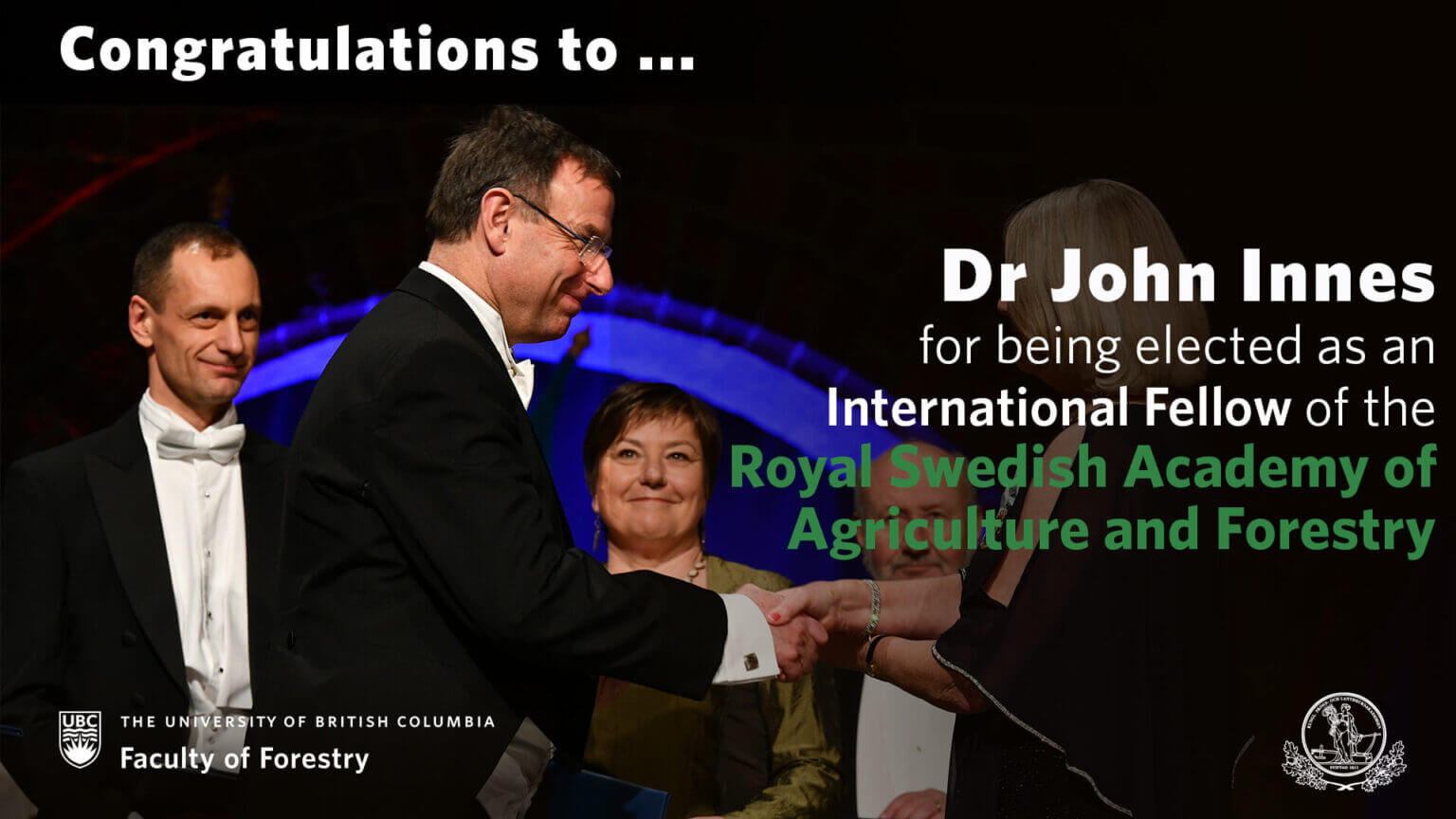 Congratulations to John Innes for being elected as a Fellow of the Royal Swedish Academy of Agriculture and Forestry