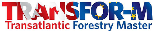 Logo for the TRANSFOR-M Transatlantic Forestry Master program featuring stylized text with the background of the Canadian Flag and the United Nations flags