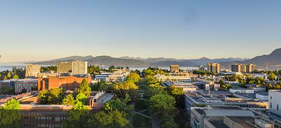 Aerial view of UBC's Vancouver Campus