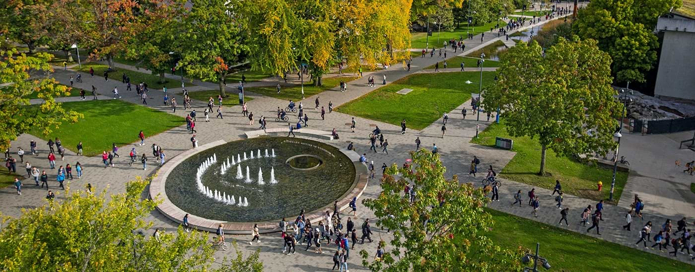 Overview aerial photo of UBC's Vancouver Campus - main mall fountain