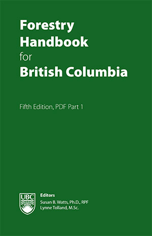"Cover of the book titled ""Forestry Handbook for British Columbia"" featuring a solid green cover and the author names at the bottom."