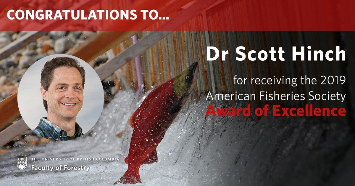 Dr Scott Hinch Receives the 2019 Award of Excellence from the American Fisheries Society