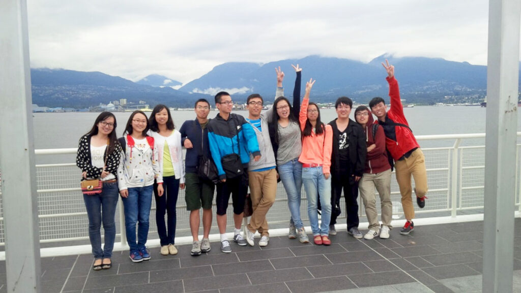 Vancouver Summer Program students on a field trip in Coal Harbour in Downtown Vancouver