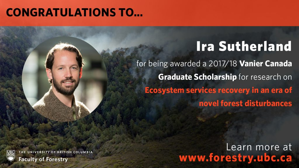 Congratulations to Ira Sutherland for being awarded a Vanier Canada Graduate Scholarship