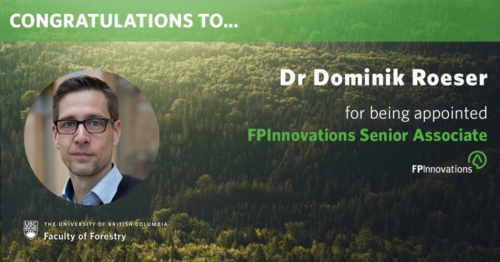 Dominik Roeser appointed as an FPInnovations Senior Associate