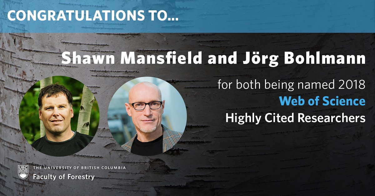 Shawn Mansfield and Jörg Bohlmann named Web of Science Highly Cited Researchers of 2018