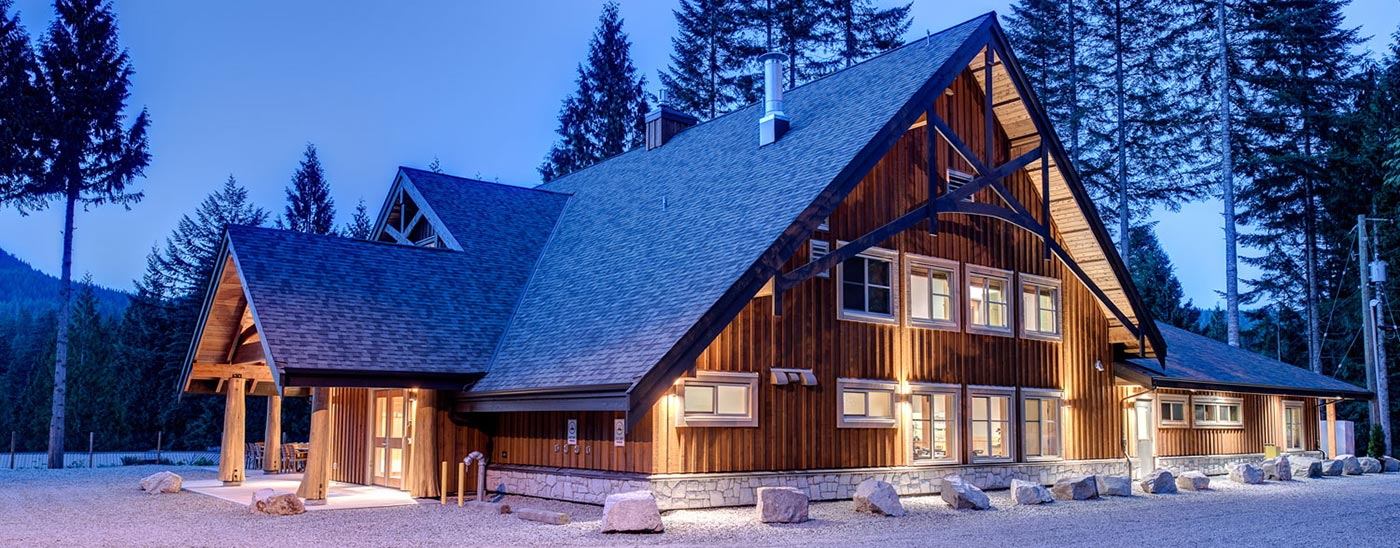External shot of the MKRF Loon Lake resort in the evening