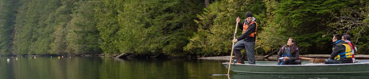 Group of students paddling at the UBC Forestry Malcolm Knapp Research Forest