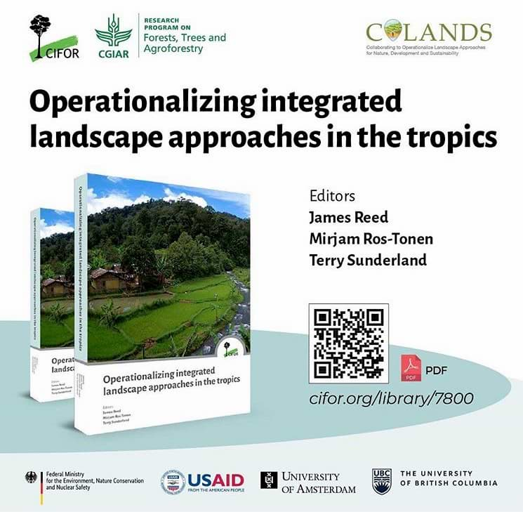"""Details the cover of the book """"Operationalizing Landscape Approaches"""" and how to download it. Towards the bottom of the image, are the contributors of the book."""