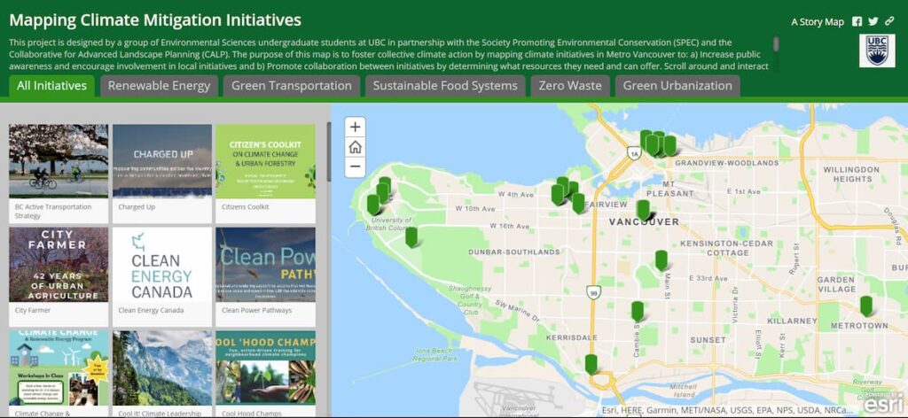 Screenshot of the Mapping Climate Mitigation Initiatives project, showing a map of Vancouver and the initiatives within it.