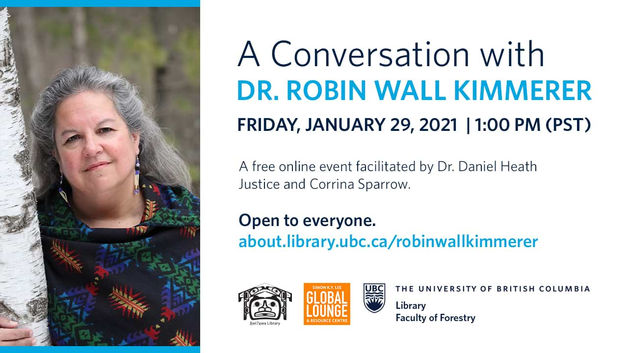 Event poster for the webinar featuring Dr Robin Wall Kimmerer