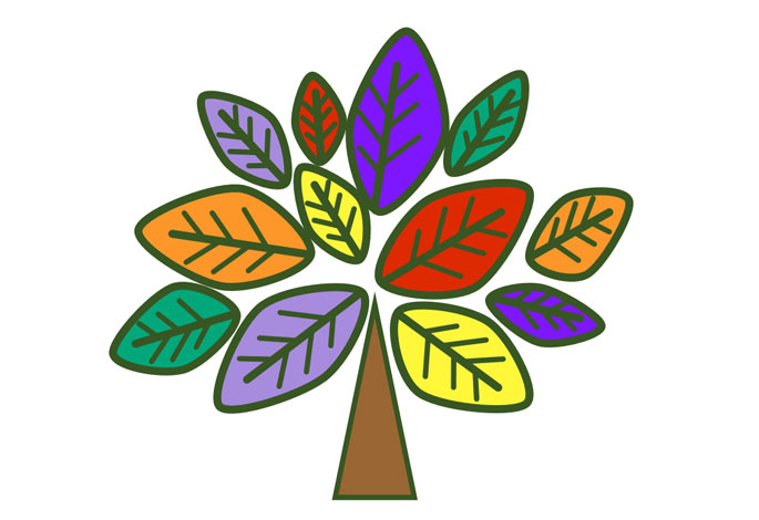 Diversity Crew logo - a tree of various colours