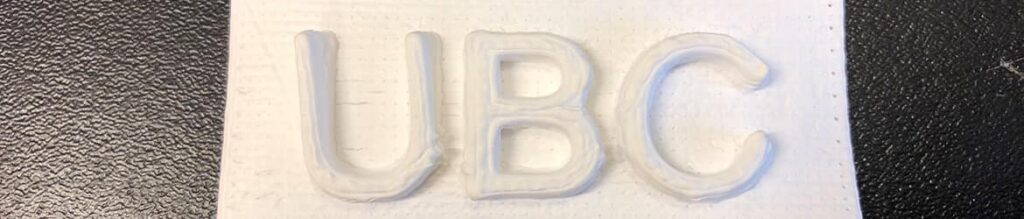 UBC logo made by 3D printing cellulose, as part of new research from UBC Forestry
