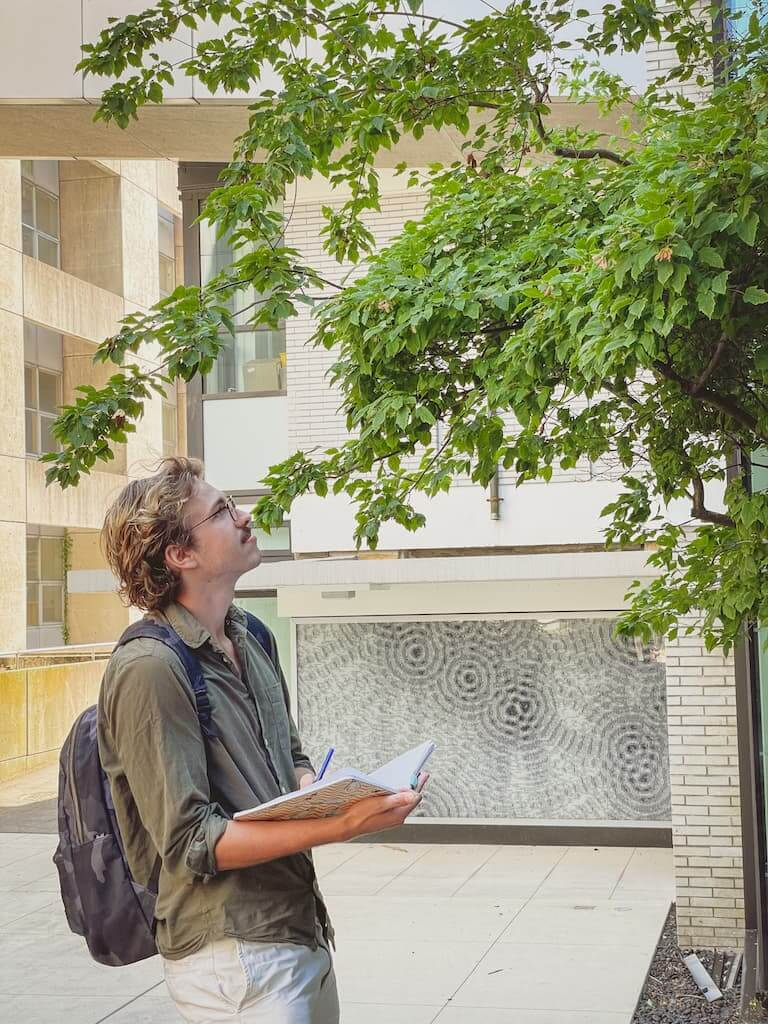 UBC Forestry Co-op student, Benjamin Scheufler, stands next to a tree, looking up at it.