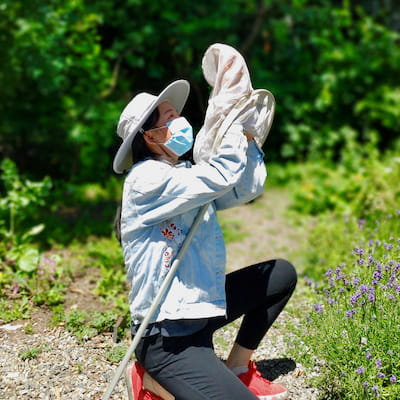 UBC Forestry student Alina Zeng in the field