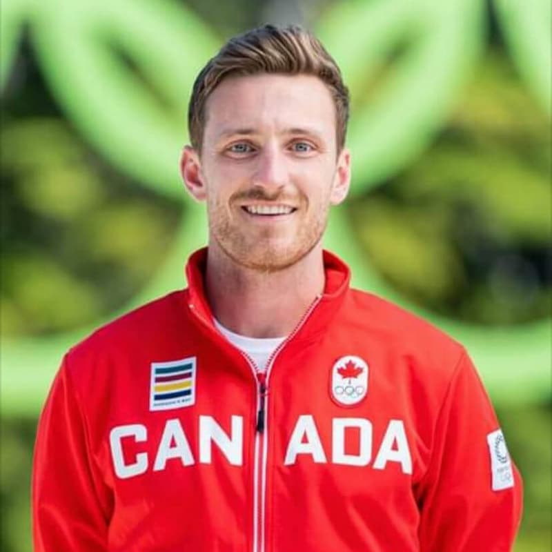 Oliver Scholfield wearing Canada's Tokyo Olympics jersey